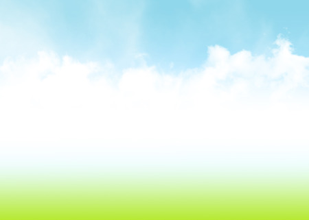 Blue sky, clouds and green field summer abstract background