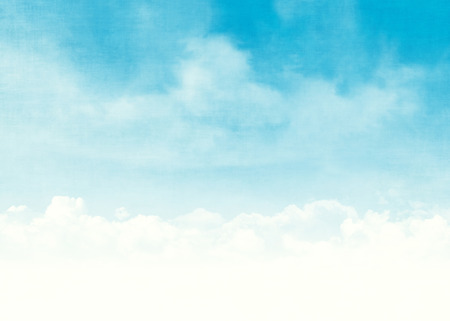 blue vintage background: Blue sky and clouds abstract grunge background illustration with copy space Stock Photo