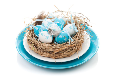 Easter eggs nest on plate. Isolated on white background photo