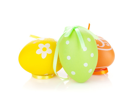 Colorful easter eggs. Isolated on white background photo