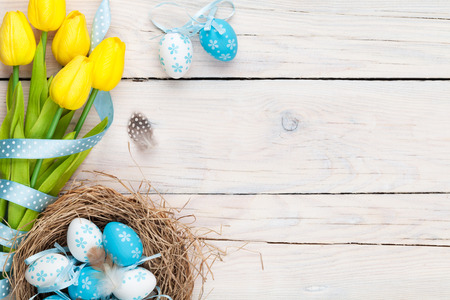 easter decorations: Easter background with blue and white eggs in nest and yellow tulips. Top view with copy space Stock Photo