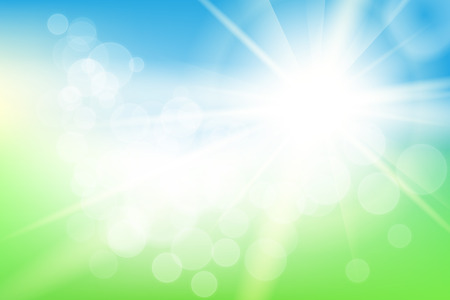 Nature sunny abstract summer background with sun and bokeh Illustration
