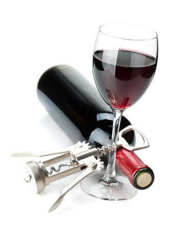 wine: Red wine glass, bottle and corkscrew. Isolated on white background