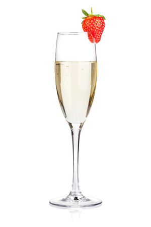 Champagne with strawberry. Isolated on white background