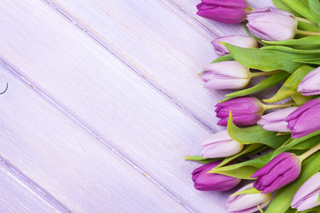 Purple tulips over wooden table. Top view with copy space