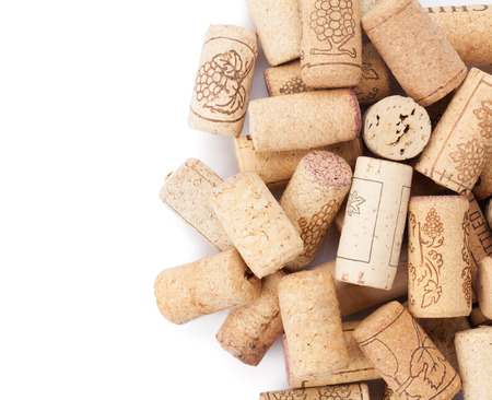 brown white: Wine corks heap. Isolated on white background Stock Photo