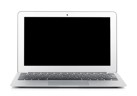 netbook: Netbook with black blank screen. Isolated on white background