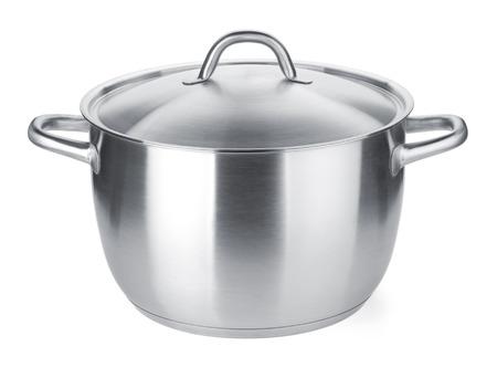 ステンレス鋼の鍋。白い背景に分離