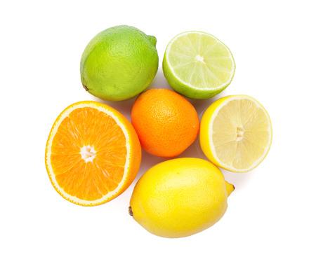 orange cut: Citrus fruits. Oranges, limes and lemons. Isolated on white background