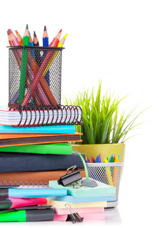 School and office supplies. Isolated on white background photo