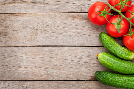 table top: Fresh ripe vegetables on wooden table with copy space Stock Photo