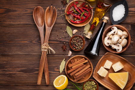 curry powder: Various spices on wooden background. Top view with copy space