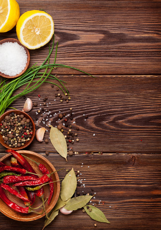 chili powder: Various spices on wooden background. Top view with copy space