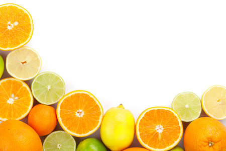orange slice: Citrus fruits. Oranges, limes and lemons. Isolated on white background with copy space
