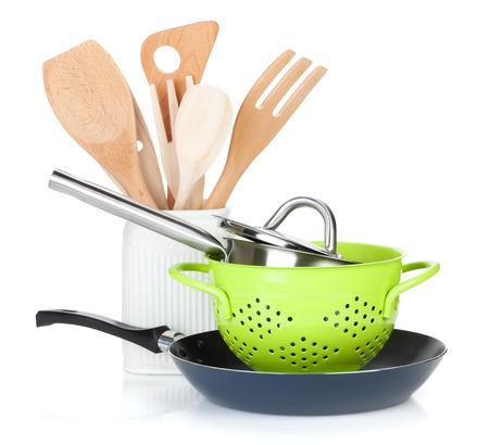 ustensiles de cuisine: Équipements de cuisson. Isolé sur fond blanc