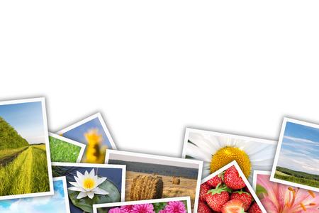 テキストや写真のコピー スペースと印刷された写真コラージュのスタック