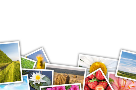 Stack of printed pictures collage with copy space for your text or photo