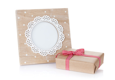 frame  box: Photo frame and gift box. Isolated on white background