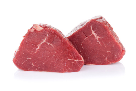 raw beef: Fillet steak beef meat. Isolated on white background