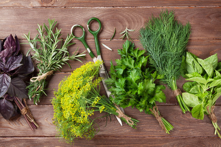 herb: Fresh garden herbs over wooden table. Top view Stock Photo