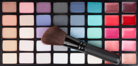 make up brush: Professional makeup colorful palette and brush
