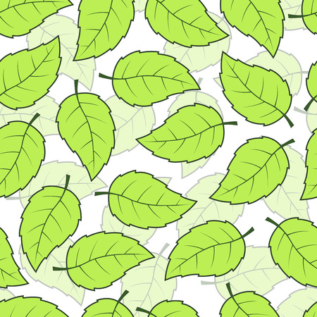 Seamless green leaves pattern background