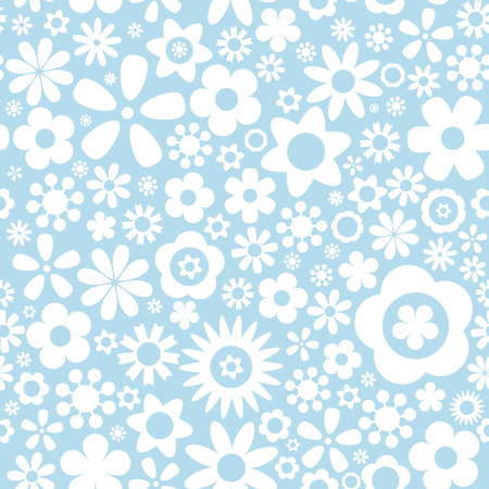pastel backgrounds: Flower on blue seamless pattern background Illustration