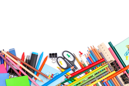 School and office supplies. Isolated on white background with copy space Archivio Fotografico
