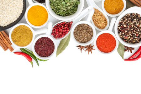 dry powder: Various spices selection. Isolated on white background Stock Photo