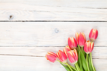 table top: Colorful tulips on wooden table. Top view with copy space