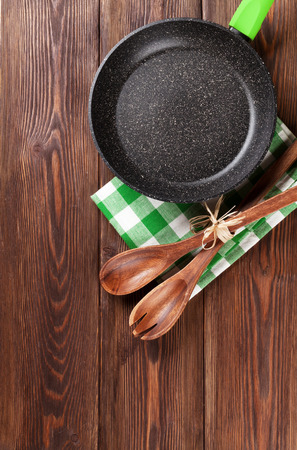 cooking utensils: Cooking utensil on wooden table. Top view with copy space