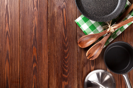 cooking utensil: Cooking utensil on wooden table. Top view with copy space