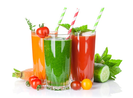 Fresh vegetable smoothie. Tomato, cucumber, carrot. Isolated on white background Stock Photo