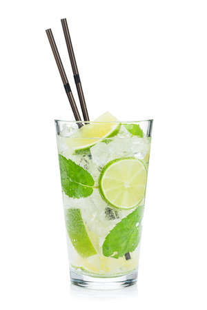 straws: Fresh mojito cocktail. Isolated on white background