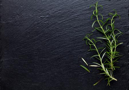 jamon: Hierba de Rosemary en la mesa de piedra. Vista superior con espacio de copia