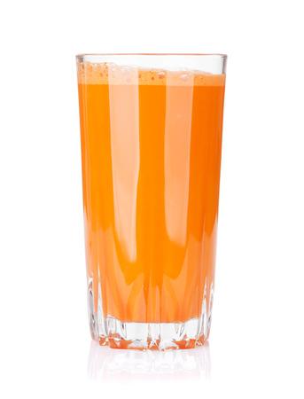 Fresh vegetable smoothie. Carrot juice. Isolated on white background