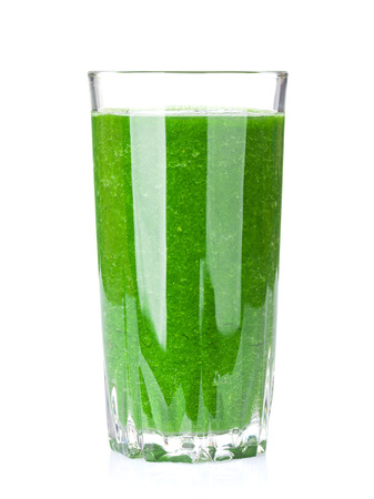 green vegetable: Fresh green vegetable smoothie. Isolated on white background Stock Photo