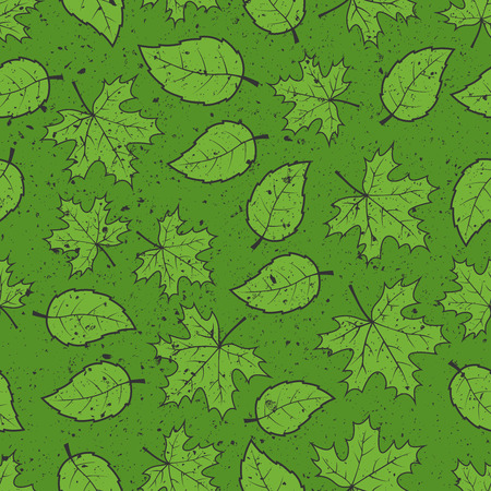 grunge pattern: Seamless leaves grunge pattern background
