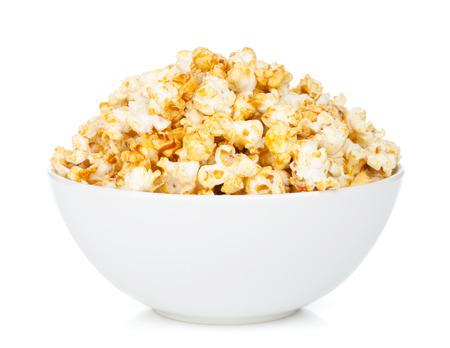 bowl of popcorn: Bowl with popcorn. Isolated on white background Stock Photo