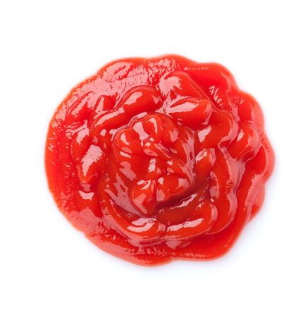 salsa de tomate: Salsa de tomate. Aislado en el fondo blanco