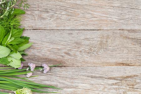 신선한 허브와 정원 테이블에 향신료. 복사 공간 상위 뷰
