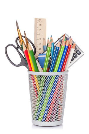 supplies: School and office supplies. Isolated on white background