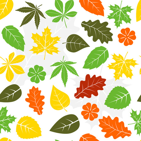 Seamless autumn leaves pattern background