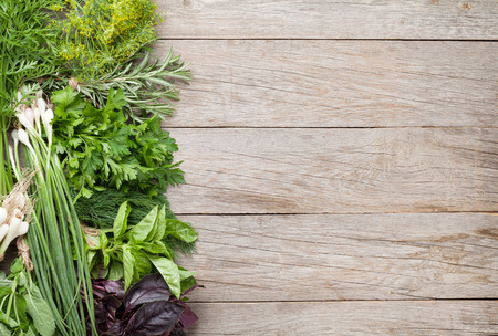 Fresh garden herbs on wooden table. Top view with copy space Reklamní fotografie - 43447614