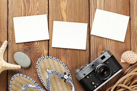 animal photo: Travel and vacation photo frames and items. Top view Stock Photo