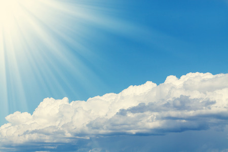 spiritual journey: Blue sky, sun and clouds abstract background with copy space