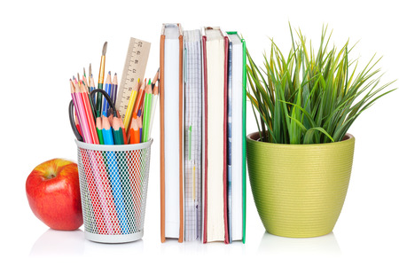 isolated paper: School and office supplies. Notepads, colorful pencils, flower and apple. Isolated on white background