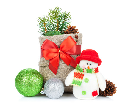 christmas decor: Christmas decor and snowman toy. Isolated on white background