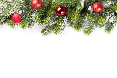 christmas tree branch: Christmas tree branch with baubles becor. Isolated on white background