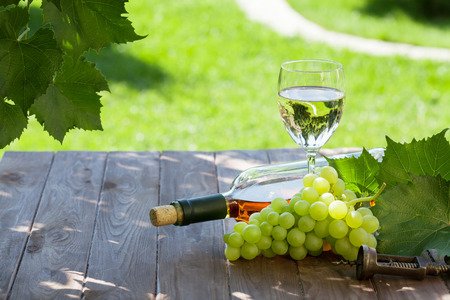 wineries: White wine bottle and glass with white grape on garden table